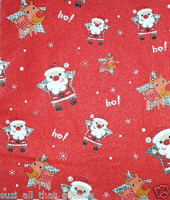 DECOUPAGE /& CRAFTING REINEERS  for TABLE LITTLE SANTAS 4 x  PAPER NAPKINS