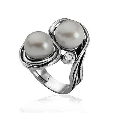 R01558CW SHABLOOL ISRAEL Didae FW Pearl Sterling Silver 925 Ring Sz. 6 7 8 9