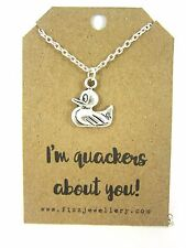 """I'm Quackers About You"" Rubber Duck Silver Charm 18"" Message Card Necklace New"