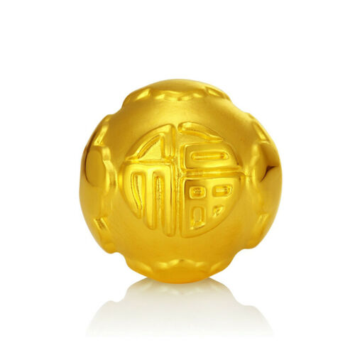 New Pure 999 24K Yellow Gold Pendant Perfect FU Lucky DIY Bead 10mm// About 1g