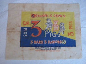 Details about 1930s Candy Bar wrapper 3 Pigs Hollywood Candy Company  Minnesota