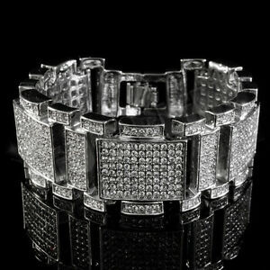 14k-White-Gold-Plated-Out-Iced-Simulated-Diamonds-Silver-Mens-Hip-Hop-Bracelet