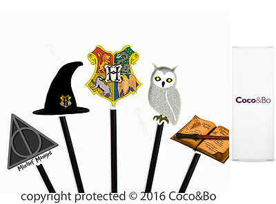 Coco&Bo 10 x Hogwarts School Cupcake Picks Harry Potter Theme Party Decoration