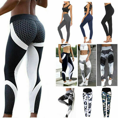 Uk Ladies Women Yoga Pants Fitness Leggings Running Gym Exercise Sports Trousers