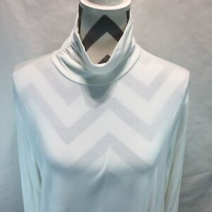 By Chicos Ruched Turtleneck Rayon Stretch Shirt White Size 3 HH9