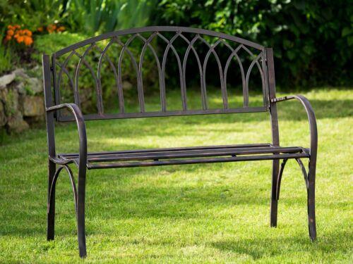 Nostalgie Gartenbank Metall Eisen Antik-Stil braun Gartenmöbel Garten Park Bank