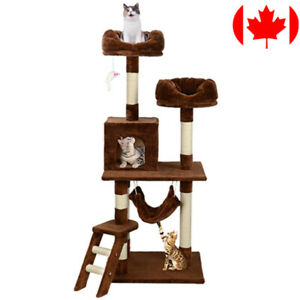"57"" Deluxe Cat Scratching Tree Kitten Condo Play House Furniture with Hammock"