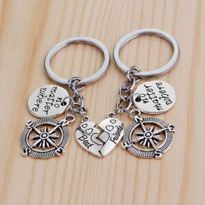1Pair-No-Matter-Where-Best-Friends-Compass-Keyring-Keychain-Keyfob-Jewelry-LD
