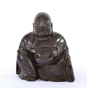 Old Chinese Dark Cherry Amber Bakelite Carved Carving Happy Buddha 964 Gram