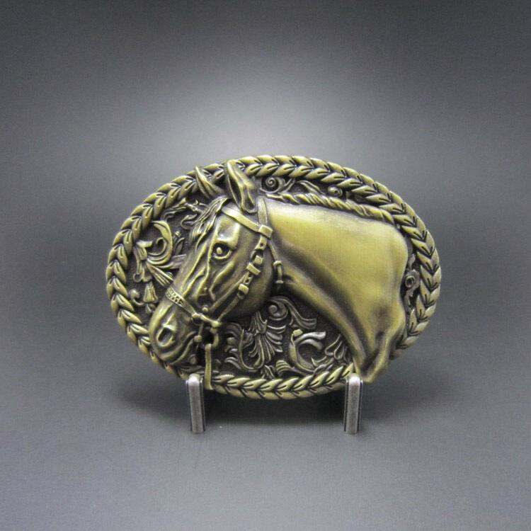Bronze Plated Horse Head Rodeo Cowboy Western Metal Belt Buckle