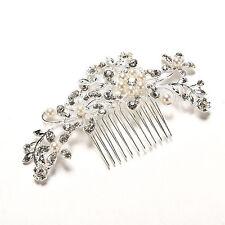 Crystal Rhinestone Wedding Flower Pearls  Hair Clip Hair Comb For Women Bride