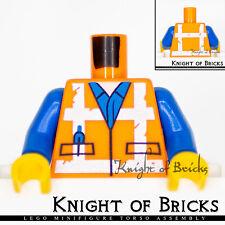 Lego Orange Torso Safety Vest with Reflective Crossed Stripes Blue Shirt  #108