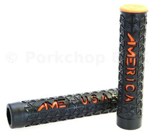 AME MTB mountain bike ZONE flangeless bicycle grips BLACK *MADE IN USA*