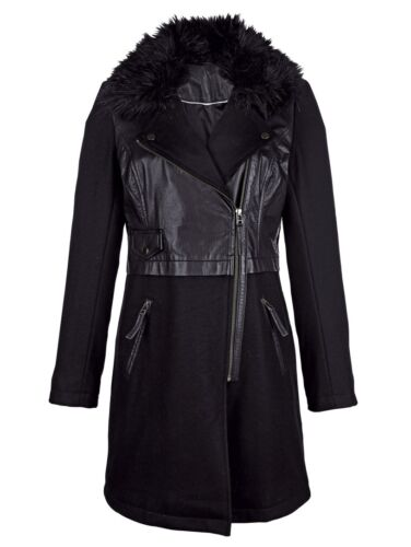 lana di gr Nuovo Giacca Giacca Giacca 38 nera pelle lana di vera lunga Pelle YCqP6dC