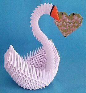 3D Origami Swan | Origami swan instructions, 3d origami swan ... | 300x279