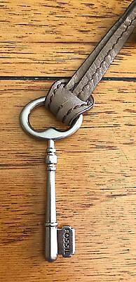 "Fossil Silver Metal 3"" Replacement Key Fob Leather Strap VGC #1 N/TRK"