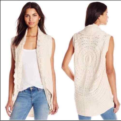 Flying Tomato Cream Lace Crochet Sweater Vest - image 1