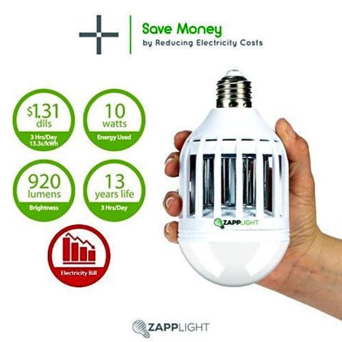 Genuine ZAPPLIGHT Light Zapper Dual LED Lightbulb and Bug MOSQUITO