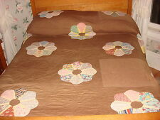"Antique Quilt DRESDEN PLATE on BROWN Hand Quilted, Fancy Edge 90""x88"""