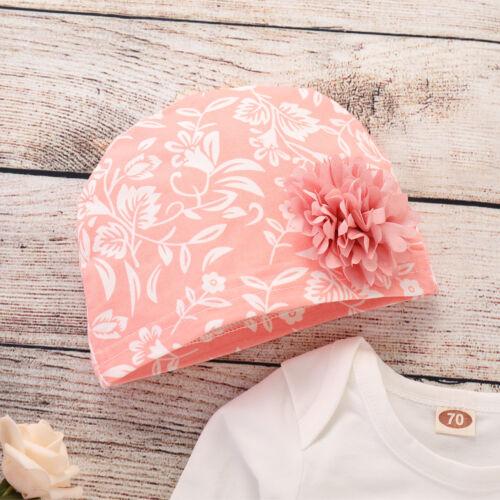 3PCS Newborn Baby Boy Girl Floral Clothes Jumpsuit Romper Bodysuit+Headband+Hat