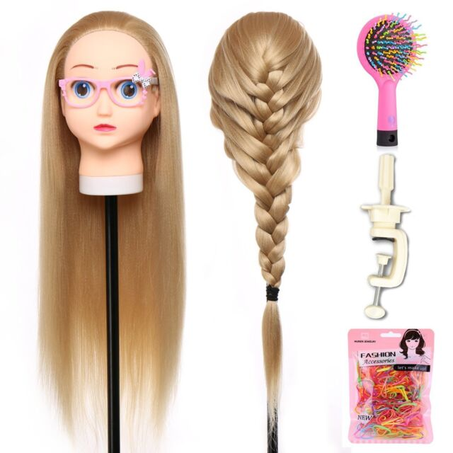 28 Inch Hair Mannequin Head Hairdressing Practice Training Doll Heads
