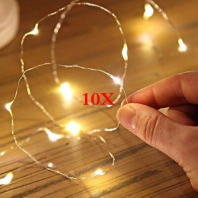 10er Set Micro LED Lichterkette mit je 10 LED´s, warmweiß, Batteriebetrieb