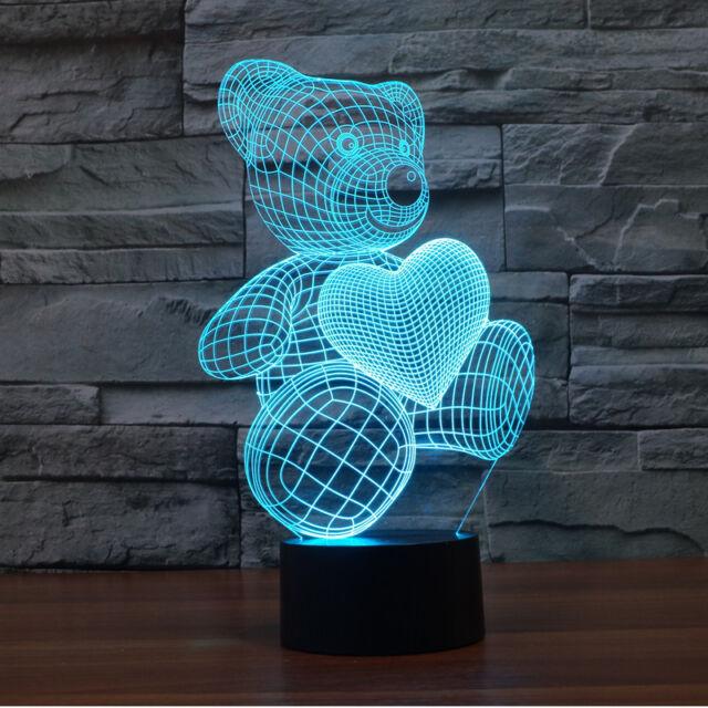 Little Bear Love Heart 3D Lamp For Girls Bedroom LED Touch Switch Night Light