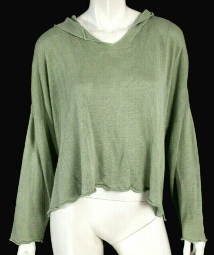 ESKANDAR Sage Green Linen Knit Hooded Pullover Swe