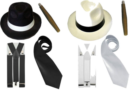 Gangster Fancy Dress Kit Costume Outfit Mens Pimp 20s Black White Cigar Tie Hat