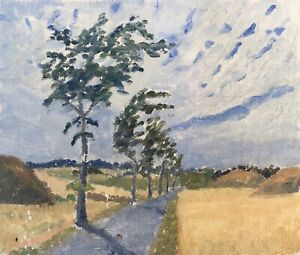 Oil-Painting-Country-Road-With-Trees-Anonymous-13-13-16x16-1-8in-Denmark