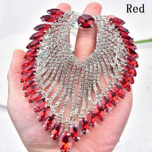 1pc Rhinestone Applique Sew On Wedding Custome Craft Decor Shiny Fashion 13X8cm
