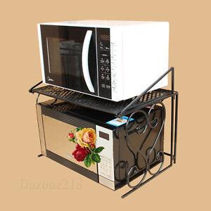 Image Is Loading 2 Tier Black Metal Multifunctional Microwave Oven Rack