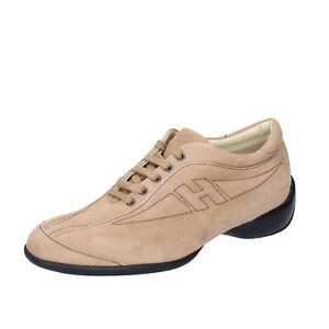 Chaussures Femme HOGAN 40 Ue Baskets Beige en Daim BK586-40