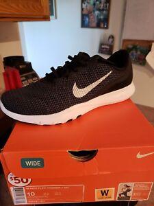 7f6c67aaea4de Nike Womens Flex TR 7 Black White Mesh Athletic Running Shoes Size ...