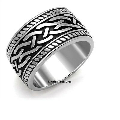 Celtic Knot Ring Rope Design Black 316L Stainless Steel Eternity Ring 11.6 mm
