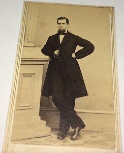 Antique-Victorian-American-Civil-War-Era-Fashion-Handsome-Gentleman-CDV-Photo
