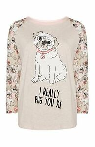 PUG-DOG-LADIES-PYJAMAS-SEPARATES-T-SHIRT-STRIPEY-LOUNGE-PANTS-LEGGINGS-PRIMARK