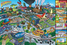 """THE SIMPSONS - TV SHOW POSTER / PRINT (SPRINGFIELD LOCATIONS) (36"""" x 24"""")"""