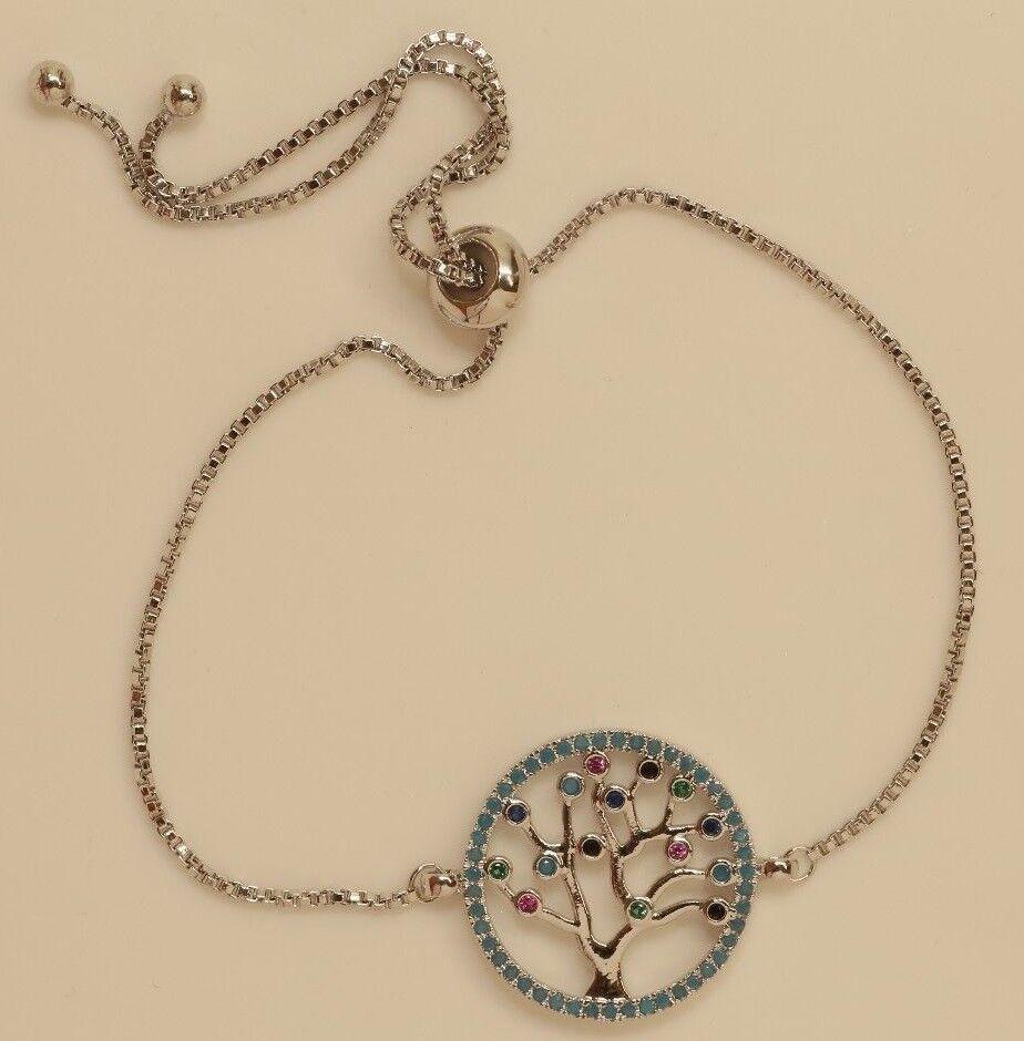 10K White gold Finish Adjustable 1ct Tree Cut Diamond Tennis Bracelet
