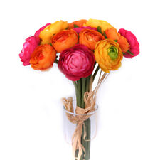 Artificial Ranunculus Bundle 14 Mini Orange, Yellow and Pink Flowers 10.5 Inches