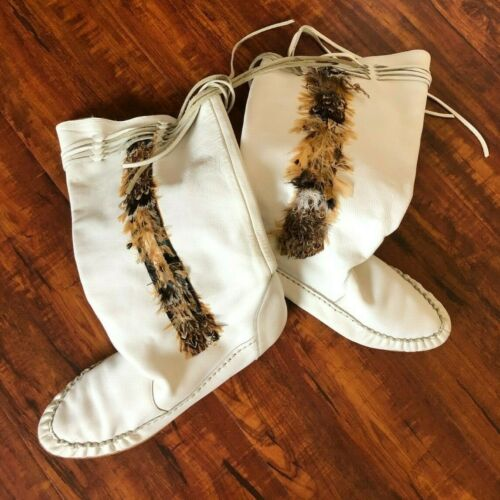 Vintage 80s White Boho Slouchy Flat Boots Leather