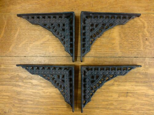 "4 SMALL BROWN ANTIQUE-STYLE 5/"" SHELF BRACKETS CAST IRON garden rustic EASTLAKE"