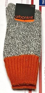 nice shoes promo codes vast selection Details about NEW 1 Pair Men's URBAN KNIT Chunky Boot Socks (US 9-13) Wool  Blend Grey/Orange