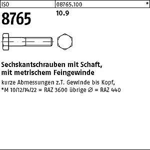 2 Stk DIN 961 Sechskantschraube M20x1,5 Feingewinde bis Kopf Stahl 30-100mm