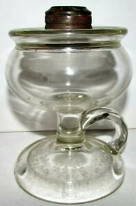 Antique-LOMAX-Spill-Guard-Kerosene-Oil-Footed-Hand-Lamp-Pat-039-d-1870-Clear-Glass