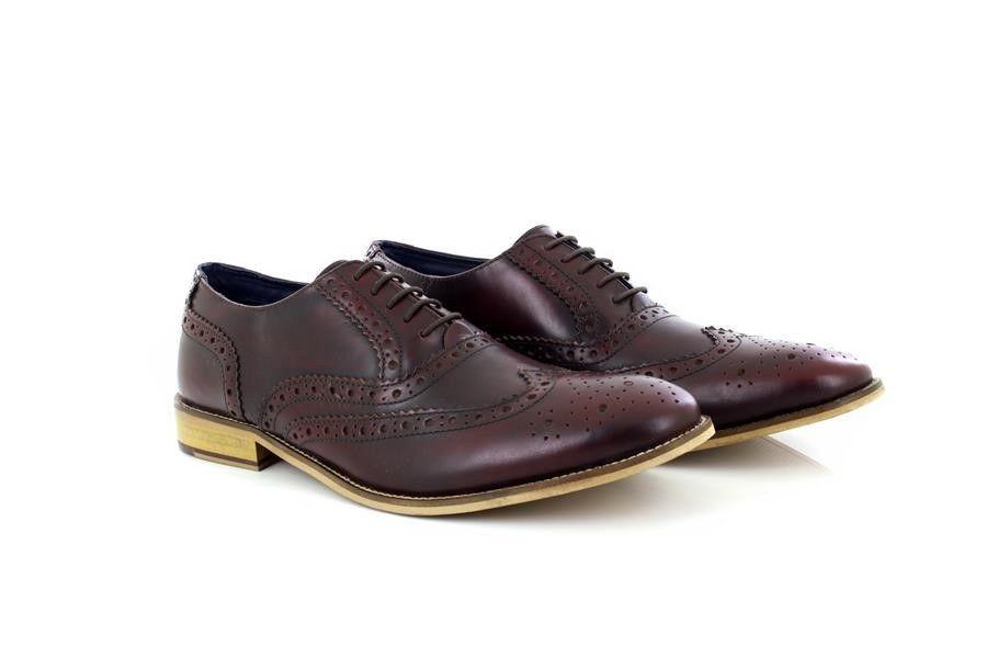 Uomo Office Basics Roamers 5 Eyelet Brogue Oxford Office Uomo Formal Leder Schuhes 90beb9