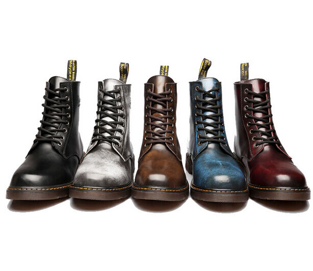 Retro British 5 Colors Uomo Lace Up Motorcycle Military Ankle Shoes Riding Ankle Military Stivali 25b1d9