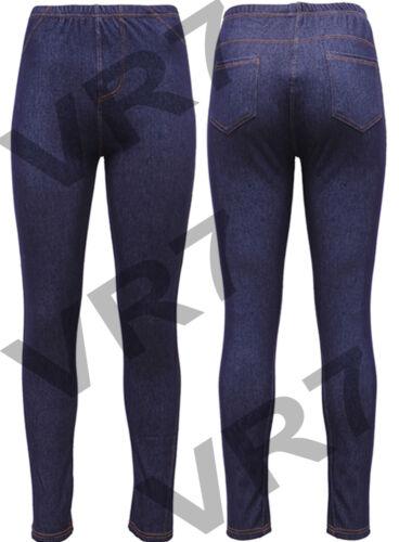 NUOVO Donna Da Donna Taglie Forti Look Denim Elasticizzato Skinny Jeggings Leggings 8-26