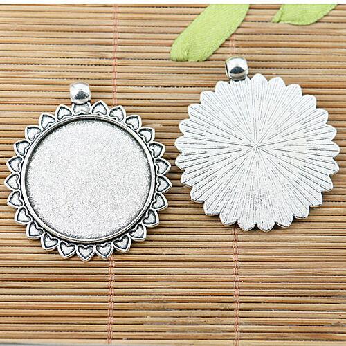 3pcs tibetan silver color hearts rim round cabochon settings EF2541
