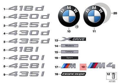 BMW F82 M4 REAR TRUNK EMBLEM BADGE New GENUINE 51138054330